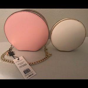 NWT BCBG pink & cream nesting wristlet.